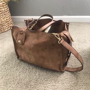 Brown bag with long strap